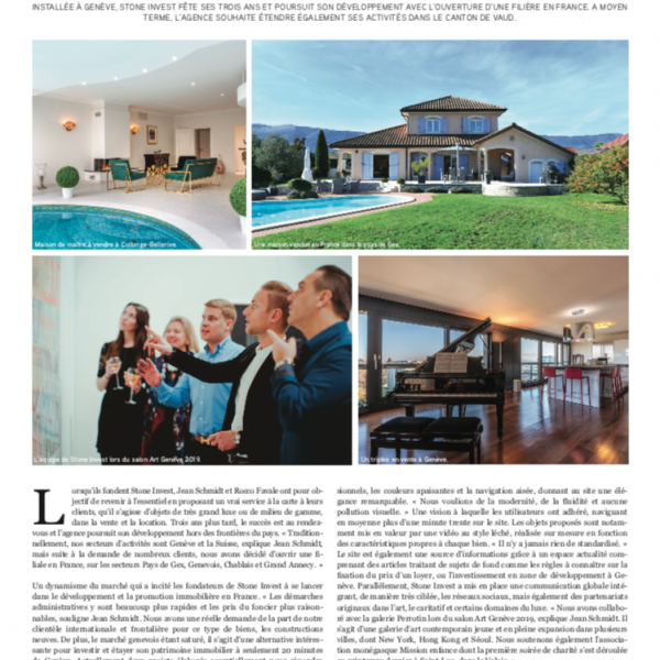 Article Presse 2019 Agence Stone Invest Immobilier Genève